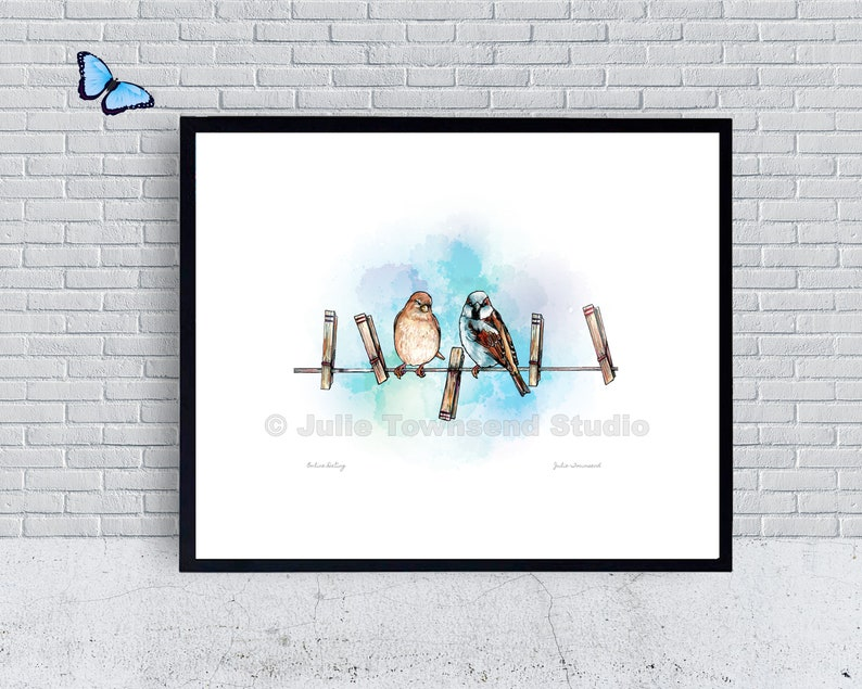 Online Dating Art Print  Sparrows on a Clothesline  Hanging image 0