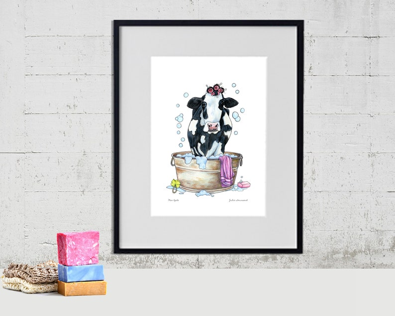 Holstein Dairy Cow Art Print Black and White Cow Art Color image 0