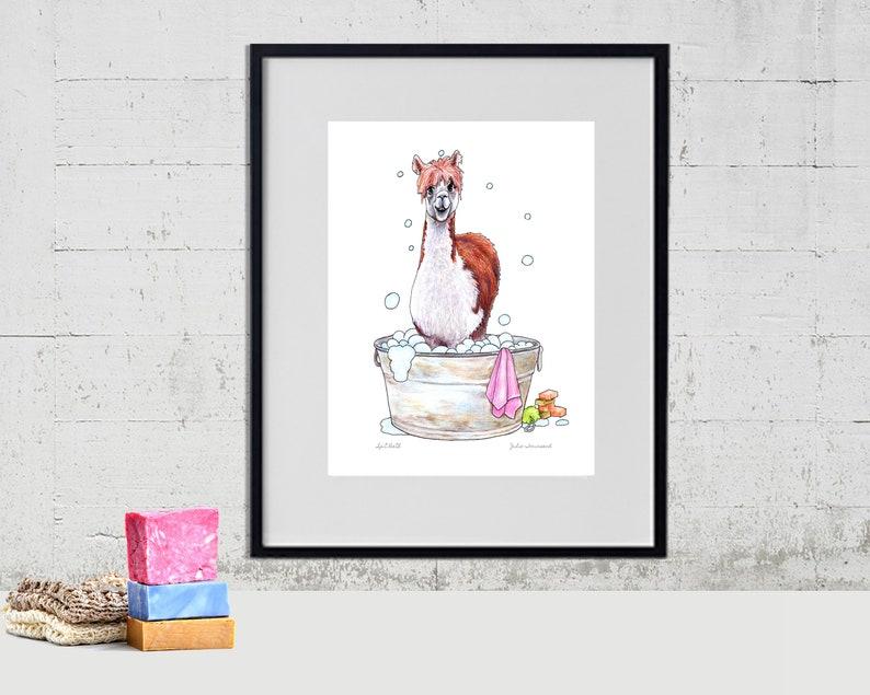 Alpaca in the Bath Tub Art Print Llama Art Farmhouse style image 0
