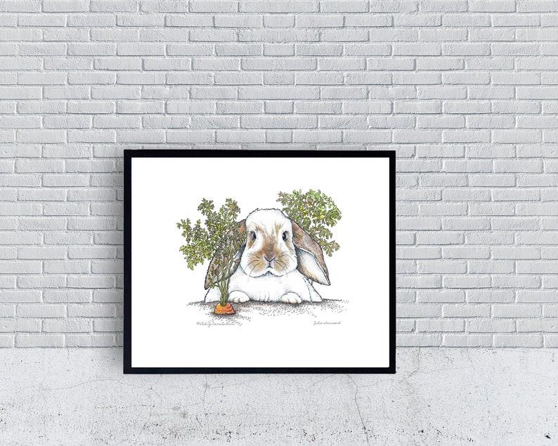 Bunny Art Print Farm Fresh Vegetables Rabbit Art Farmhouse image 0