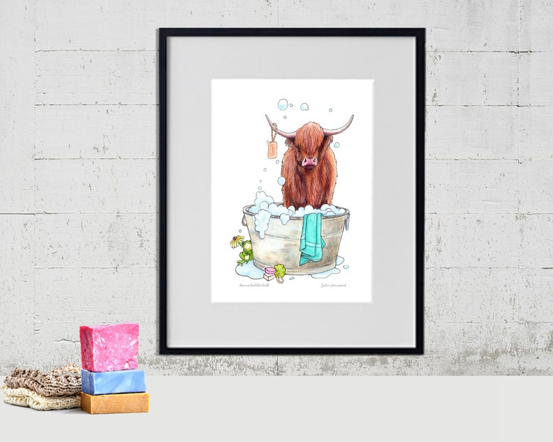 Highland Cow Art Print Highland Cow Art Color Pencil image 0