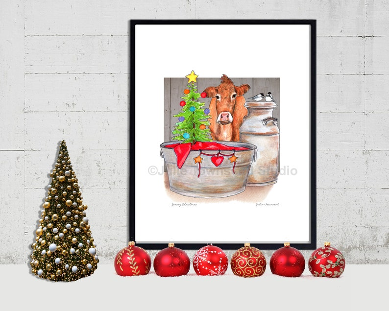 Jersey Cow Christmas Print   Primitive Christmas Tree  image 0
