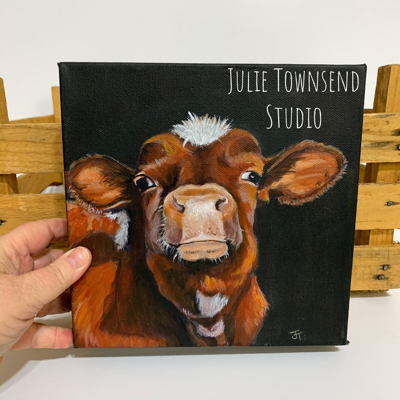 Cow Art Shelf Sitter Original Cow Painting Hereford Calf image 0