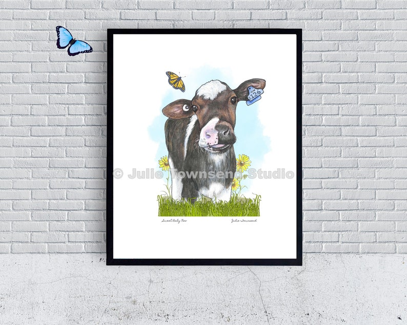 Sweet Baby Neo Art Print  Baby Cow in the Grass  Cow Lover image 0