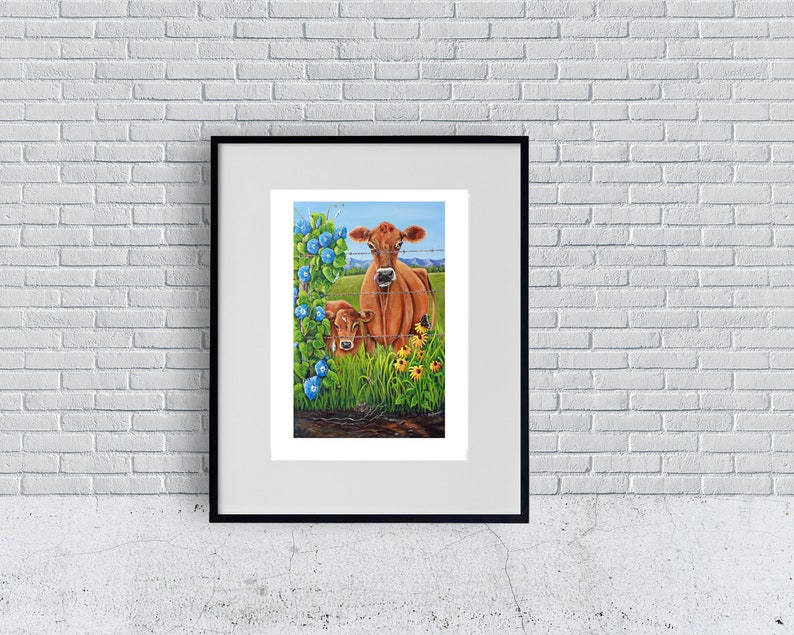 Jersey Cow Print Cow Art Cow Poster Farm Animals Farmhouse image 0