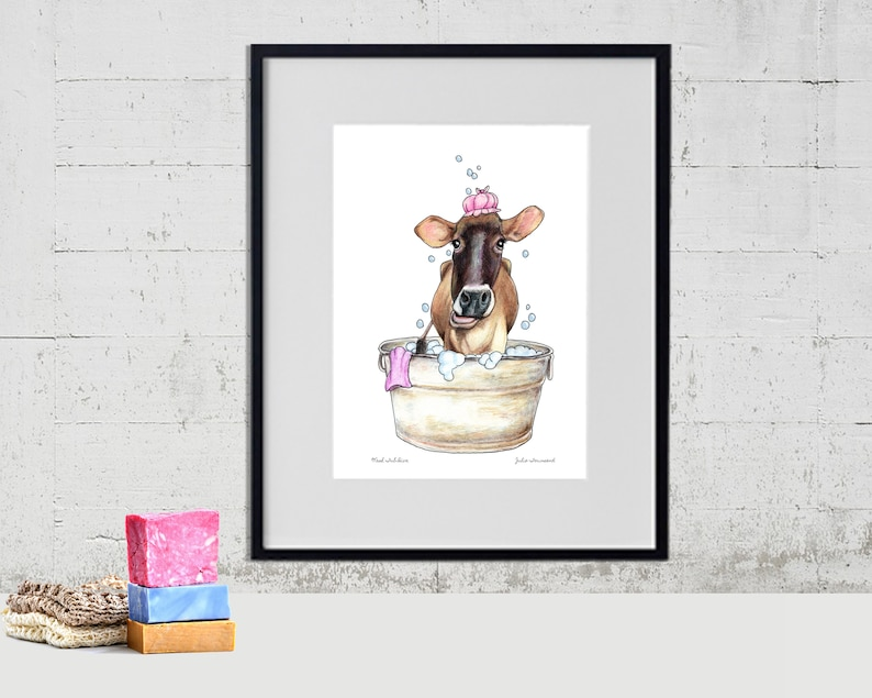 Funny Jersey Cow Art Print Jersey Cow Art Color Pencil image 0