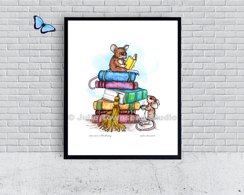Tea Time in the Library Art Print  Book Lovers Wall Art  image 0