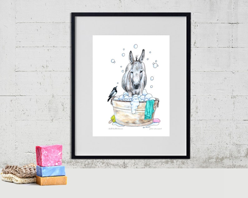 Donkey and a Magpie Art Print Burro Art Color Pencil image 0