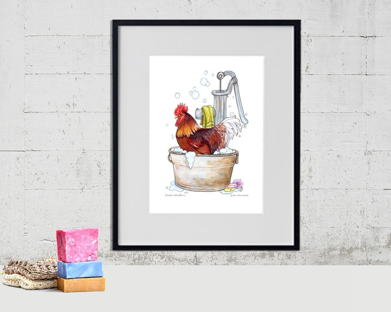 Rooster in the Wash Tub Art Print Chicken Art Funny Farm image 0