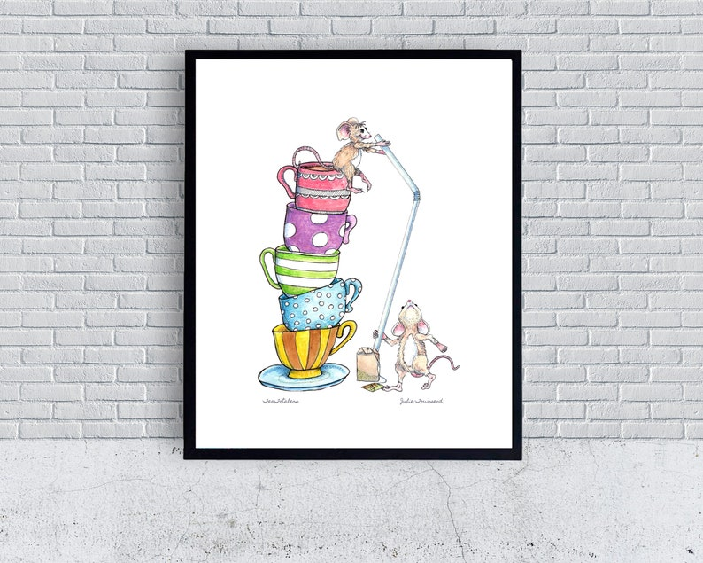 Tea Loving Mice with a Stack of Tea Cups Fine art Print image 0