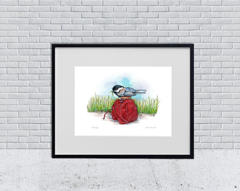 Chickadee Art Print Red Yarn Ball Knitting Chickadee image 0