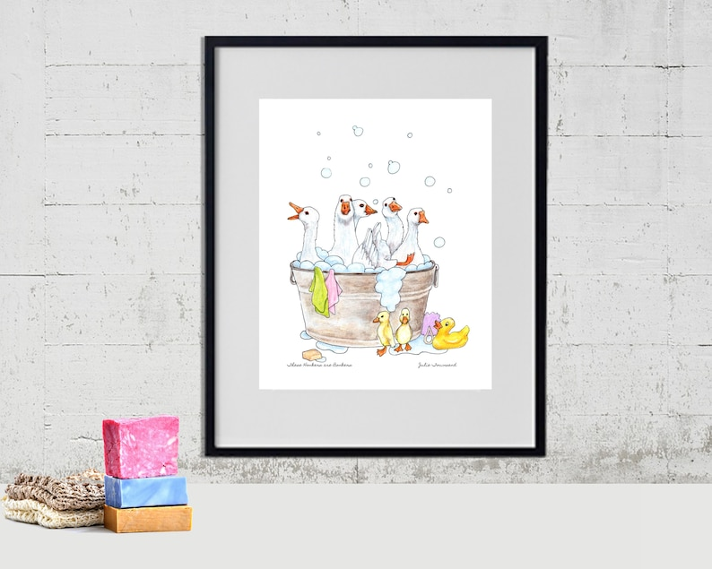 Geese in the Wash Tub Art Print Geese Art Funny Farm Art image 0