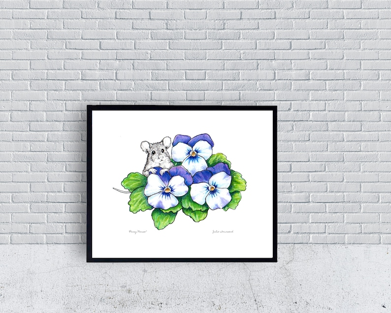 Mouse Art Print Cute Mouse Drawing Mouse in the Flowers image 0