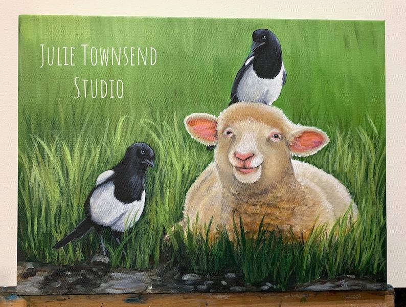 Ewe and the Magpies Sheep Art Sheep Painting Lamb painting image 0