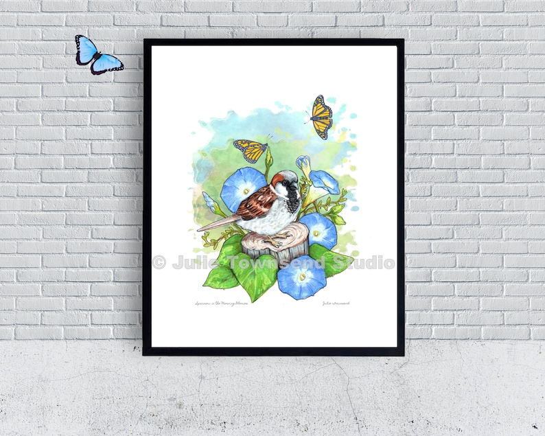 Sparrow in the Morning Glories Wall Art  Bird Lover Wall Art image 0