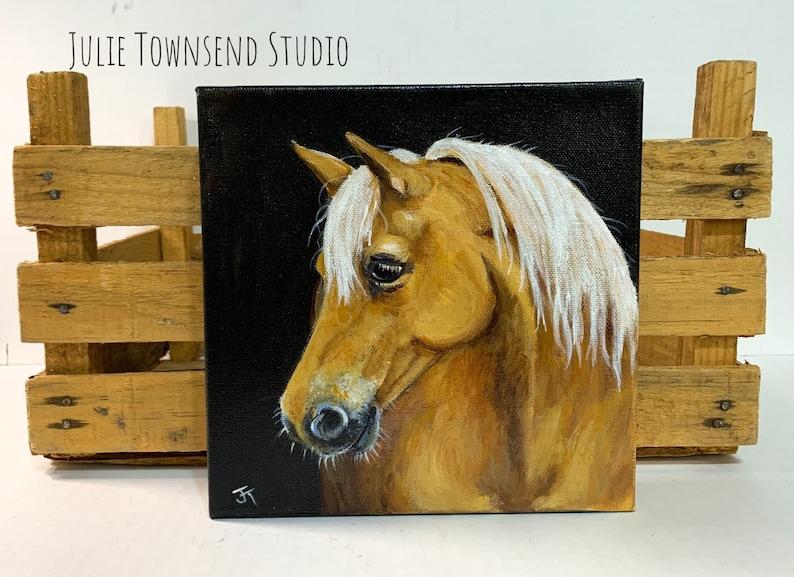 Horse Painting Original Palomino Horse Yellow Horse White image 0