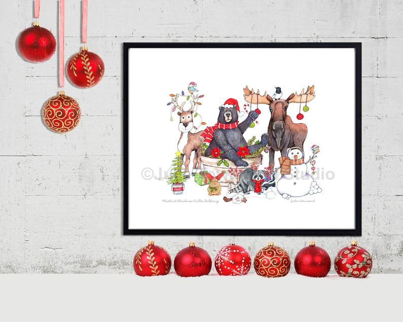 Woodland Critter Christmas Gathering Art Print  Adorable image 0