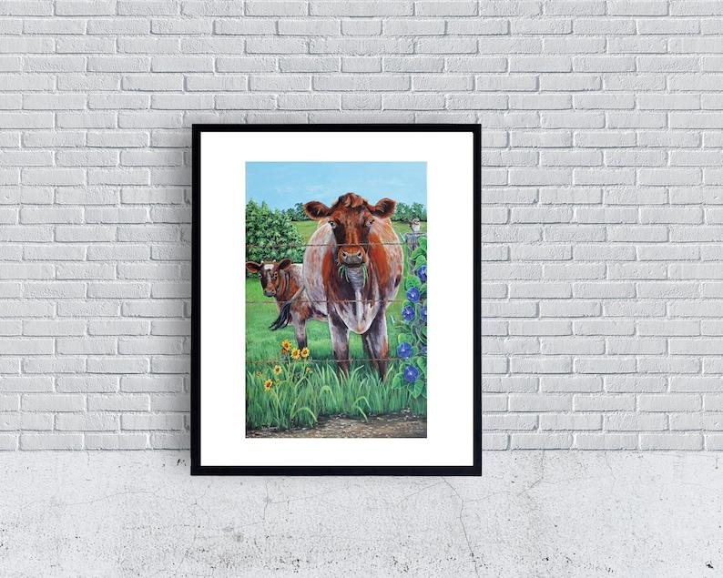 Happy Cow Wall Art Print Cow Poster Farmhouse Art Cow Art image 0