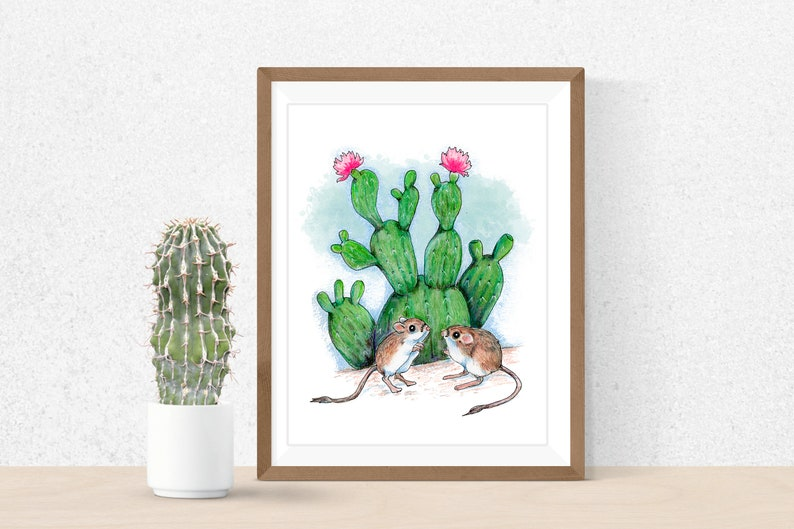 Desert Kangaroo Rat Art Print Cactus wall art Cactus in image 0