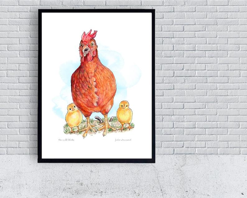 Chicken Poster Hen with Chicks Print Chicken Coop Chicken image 0
