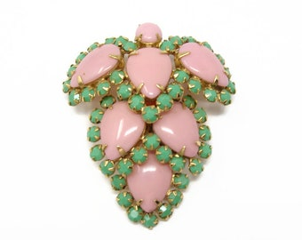 Schreiner NY Signed Large Pink and Green Rhinestone Brooch Pendant Enhancer