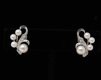 1f20730f9 Mikimoto Vintage Silver and Pearl Screw Back Earrings