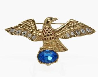Vintage Swarovski  Signed Rhinestone Crystal Eagle Brooch Retired
