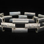 Art Deco Sterling Tank Track Bracelet Embossed Floral Bar Links