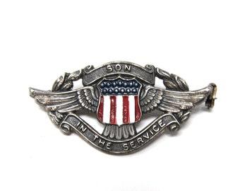 WWII Era Son in Service Sterling Silver Enamel Pin Brooch
