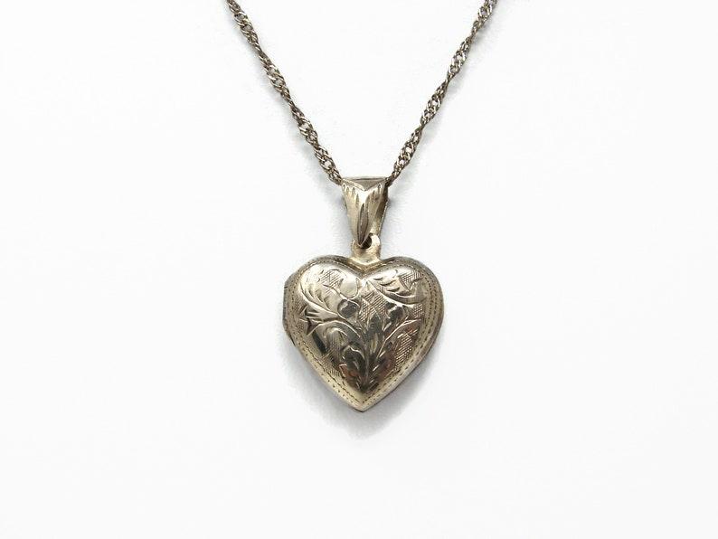 Vintage Sterling Silver Heart Locket Pendant image 0