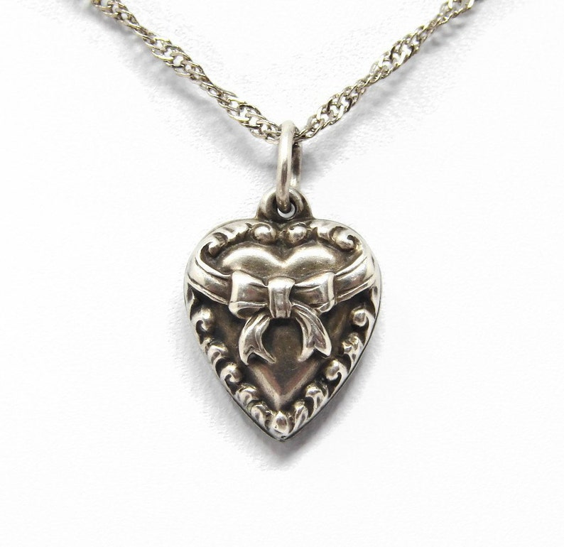 Vintage Sterling Silver Puffy Heart Charm Bow image 0