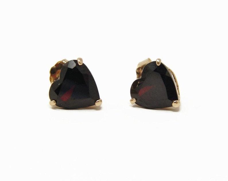 14K Gold Garnet Heart Earrings image 0
