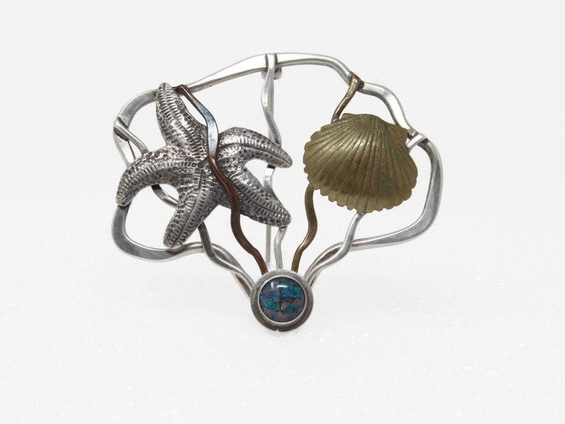 Vintage Starfish Shell Opal Brooch Mixed Metal image 0