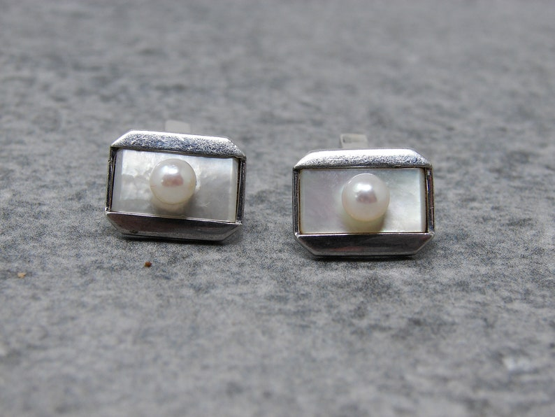 MIKIMOTO Pearl Cuff Links Sterling Silver Vintage Cultured image 0