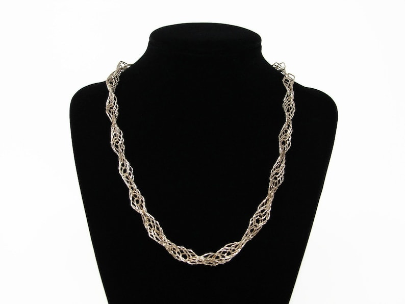 MILOR Sterling Silver Sparkle Twisted Chain Necklace Italy image 0
