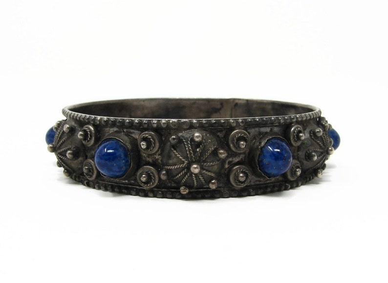 Vintage Silver Plated Blue Cabochon Glass Bangle image 0