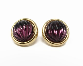 MONET Vintage Purple Molded Glass Cabochon Post Earrings