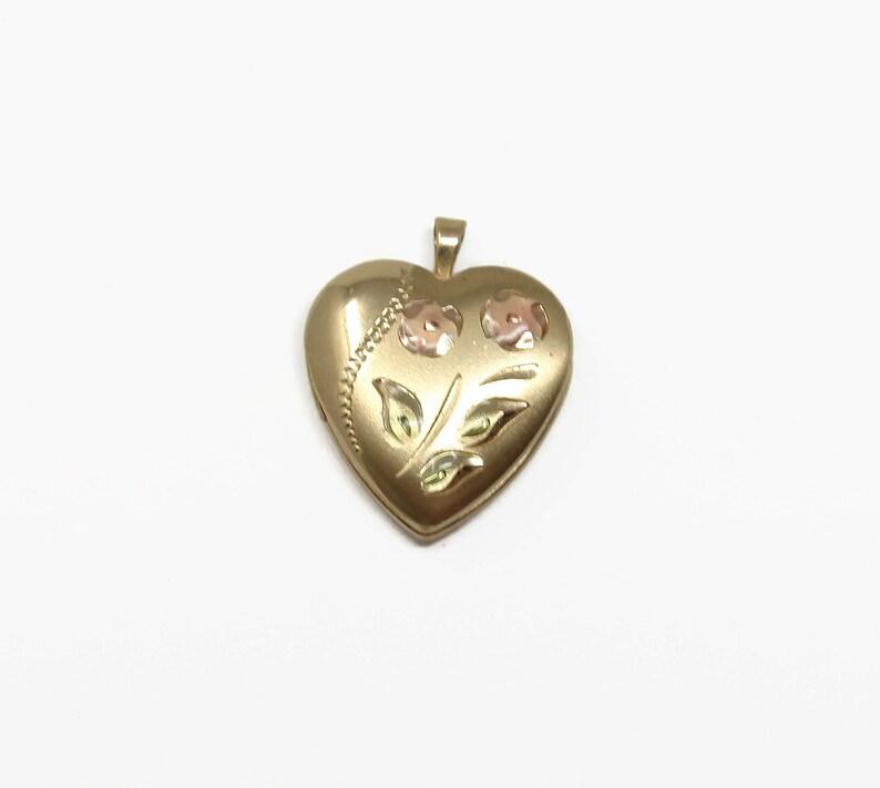 Vintage 14K Gold Filled Heart Locket Flower Design image 0