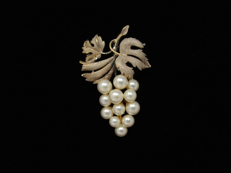 Vintage Gold over Sterling Silver Faux Pearl Grape Brooch image 0