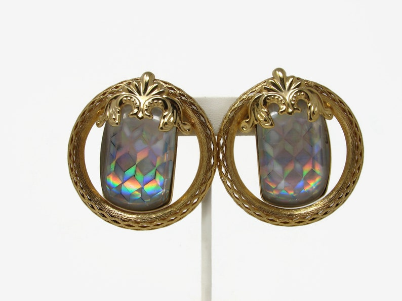 HUGE Vintage Holographic Iridescent Earrings Clip On Runway image 0
