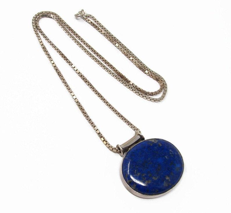 Sterling Silver Lapis Lazuli Pendant 24 Inch Box Chain image 0