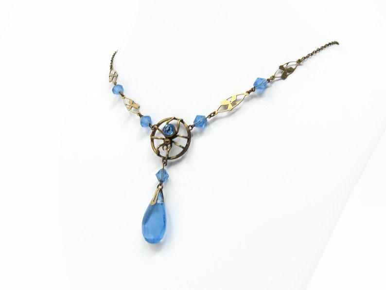 Art Deco Spider Glass Necklace by Ward Brothers Blue Glass image 0