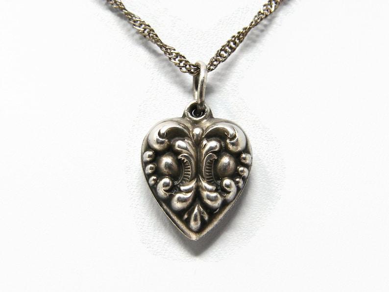 Vintage 1940's Sterling Puffy Heart FLEUR DE LIS Charm image 0