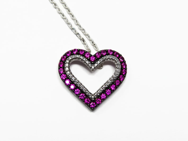 Sterling Silver Created Ruby Heart Pendant image 0