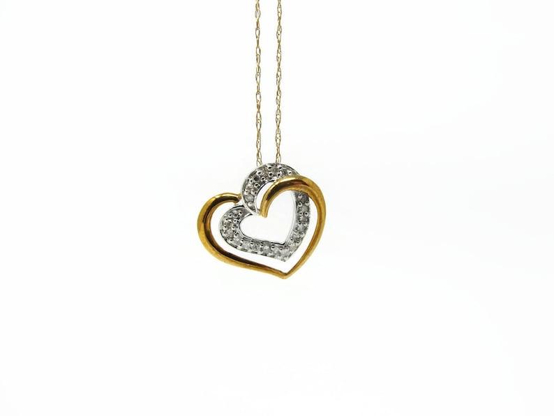 10K Gold Heart Diamond Pendant and Chain image 0