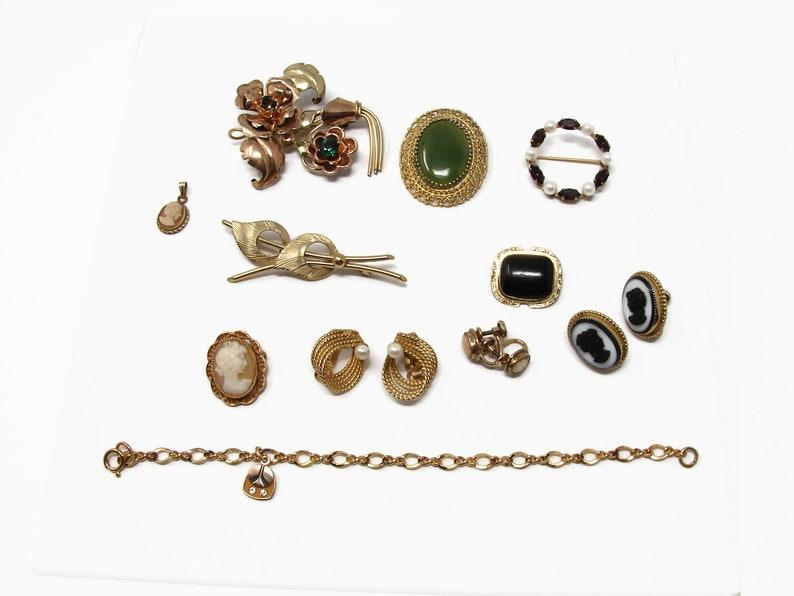 Vintage Gold Filled Jewelry Lot Brooch Earrings Bracelet image 0