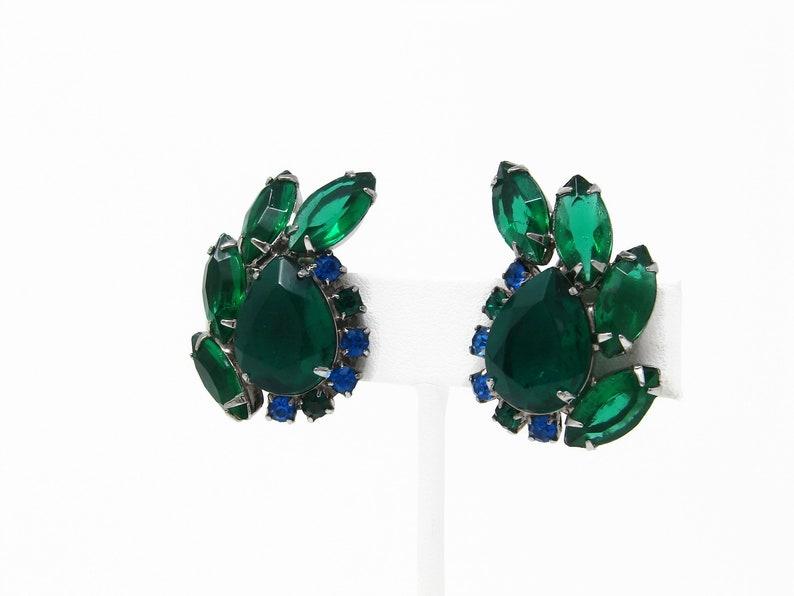 Green & Blue Rhinestone Earrings Vintage Clip On Juliana image 0