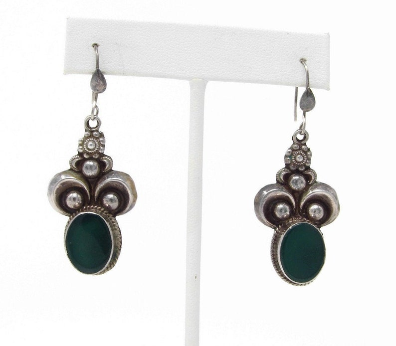 Vintage Sterling Silver and Green Onyx Earrings image 0