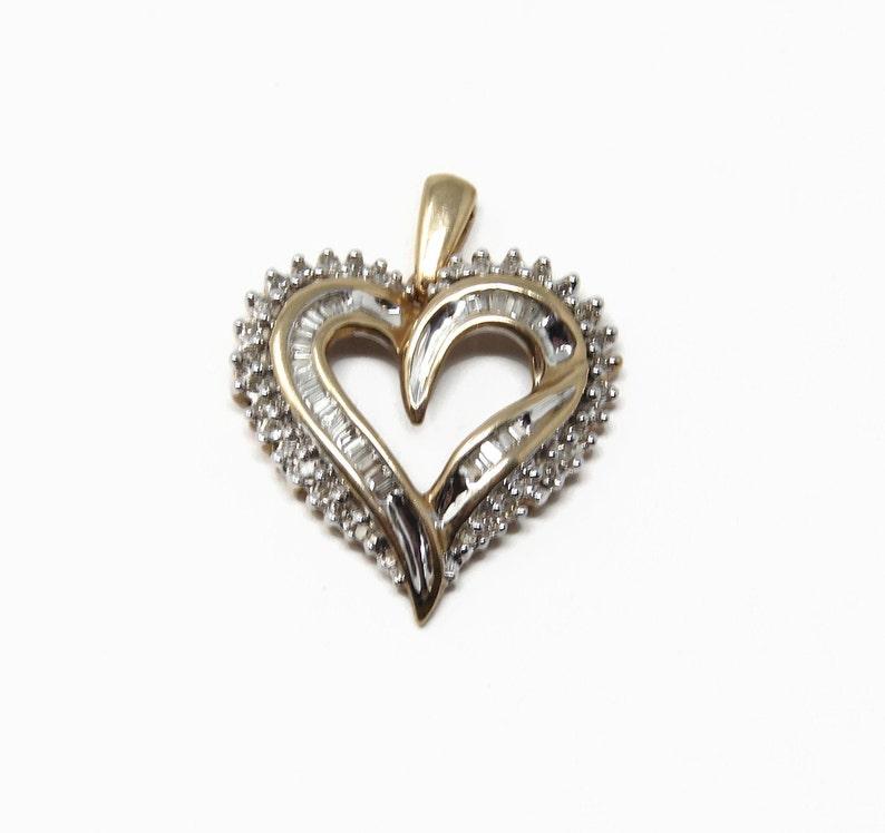 Diamond 10K Gold Heart Pendant image 0
