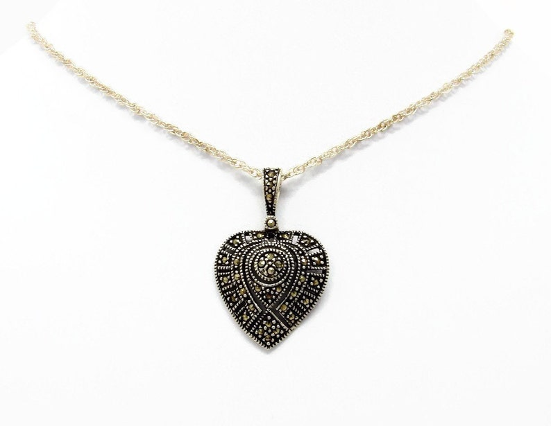 Sterling Marcasite Heart Pendant 18 Inch SS Chain Gift for image 0